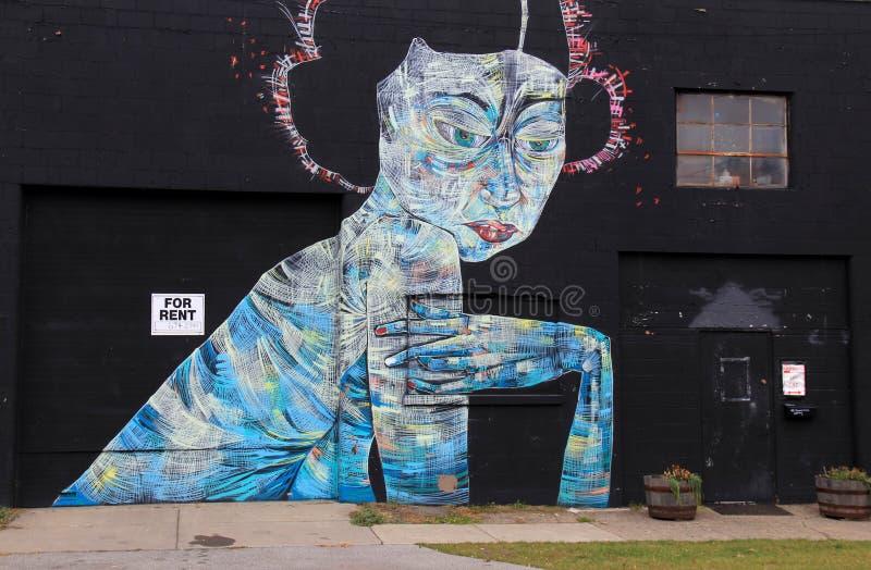 Futuristisk gatakonst målade på den gamla svarta tegelstenväggen, Rochester New York, 2017 arkivbild