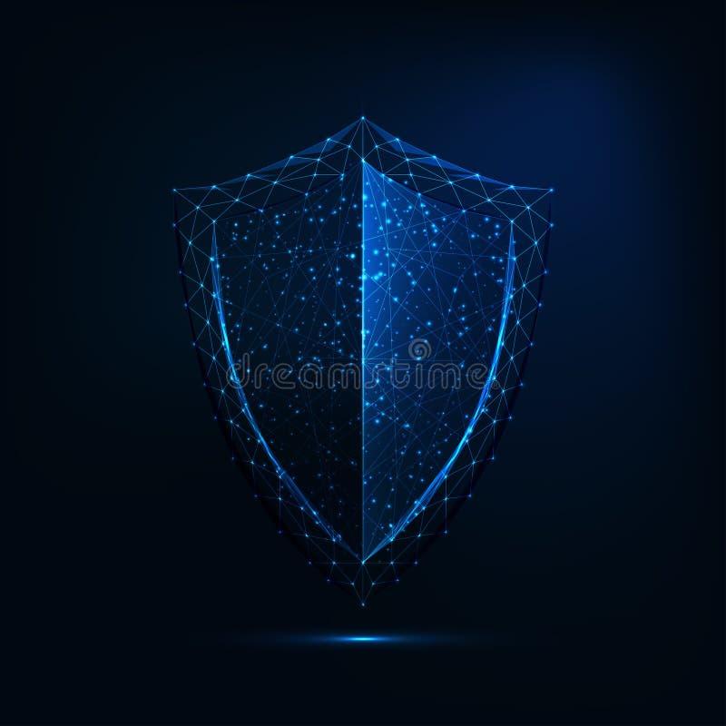 Futuristisk glödande lågpolygonskyddssymbol isolerad på mörkblå bakgrund stock illustrationer
