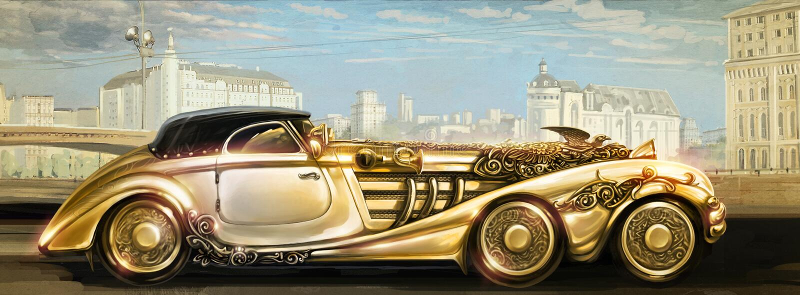 Futuristisk guld- maskin. stock illustrationer