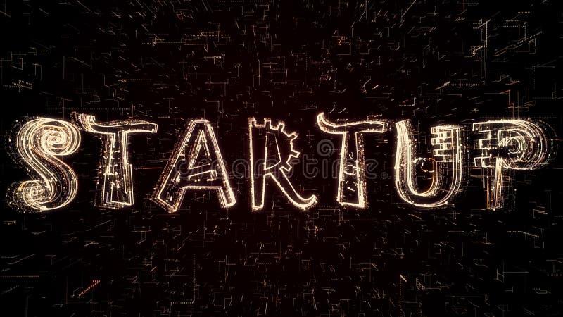 Futuristisk illustration 3D av Startup text som bildas, genom att programmera kod vektor illustrationer