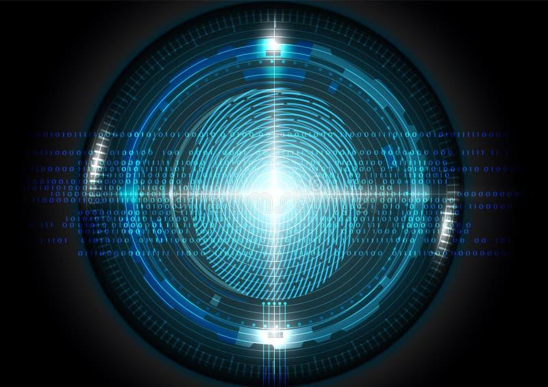 Futuristisk illustration för vektor för begrepp för fingeravtryckscanningteknologi vektor illustrationer
