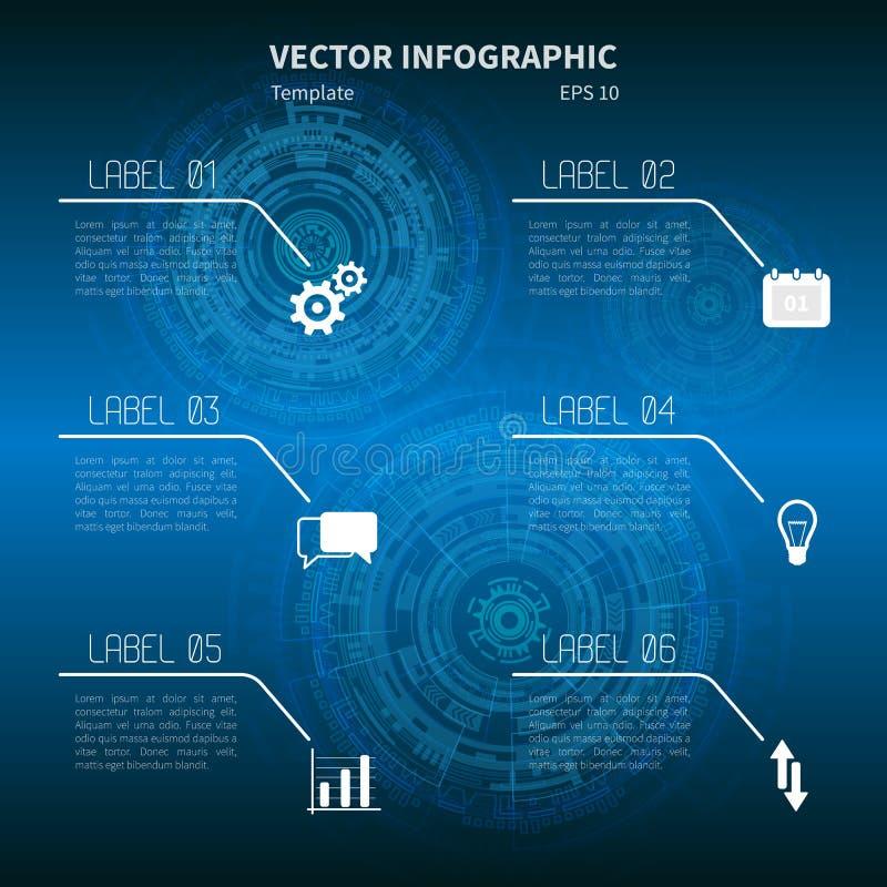 Futuristisk infographic mall med symboler på den blåa bakgrunden royaltyfri fotografi