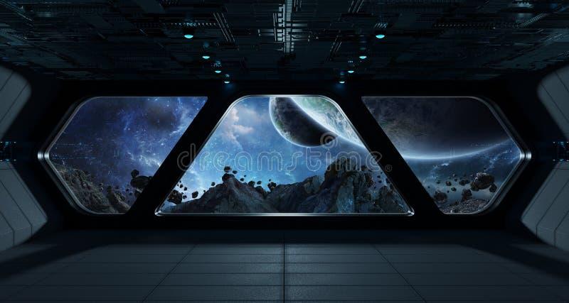 Futuristisk inre för rymdskepp med sikt på exoplanet royaltyfri illustrationer