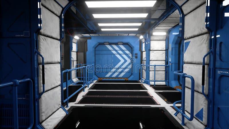 Futuristisk inre för utrymmeskepp Sci fi sikt framförande 3d vektor illustrationer