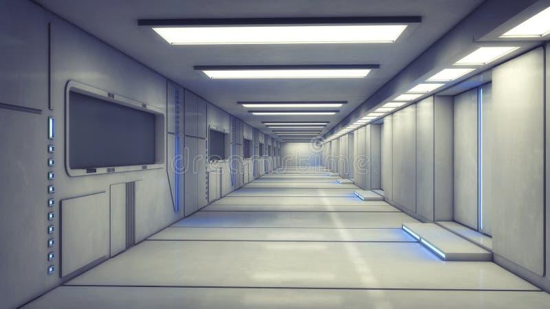 Futuristisk inre korridor royaltyfri illustrationer