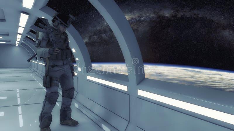 Futuristisk inre och soldat royaltyfria bilder