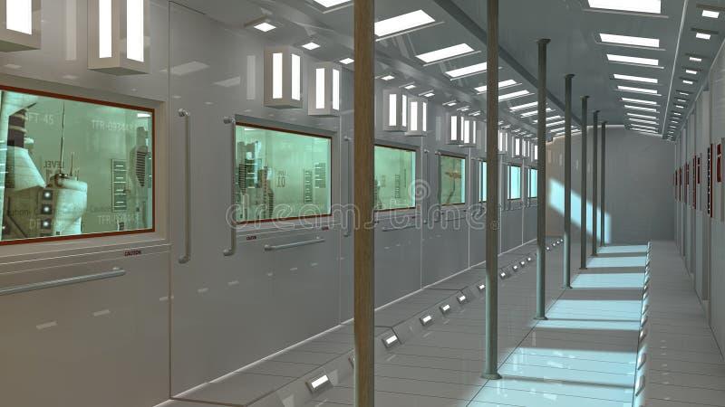 Futuristisk inre tunnelbana- och scifistad vektor illustrationer