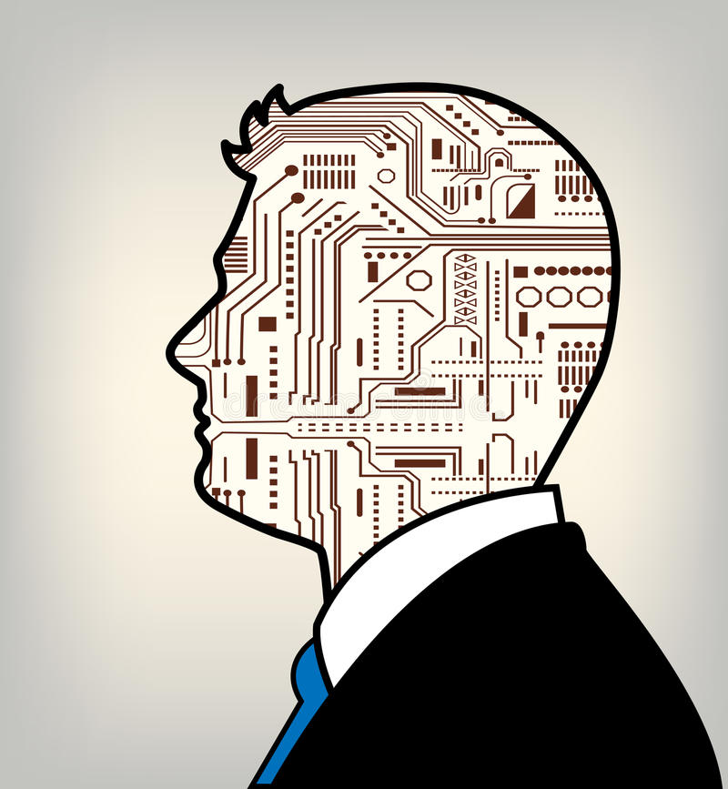 Futuristisk kombinerade man och robot royaltyfri illustrationer