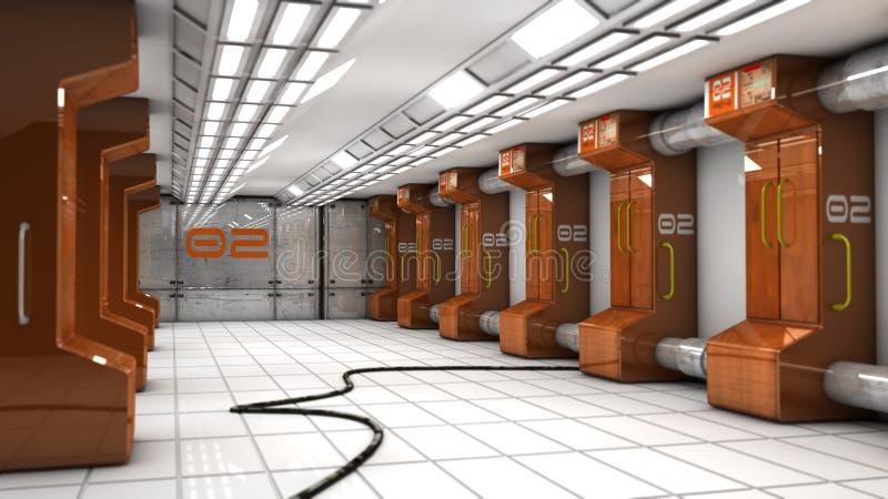Futuristisk korridorSCIFI vektor illustrationer
