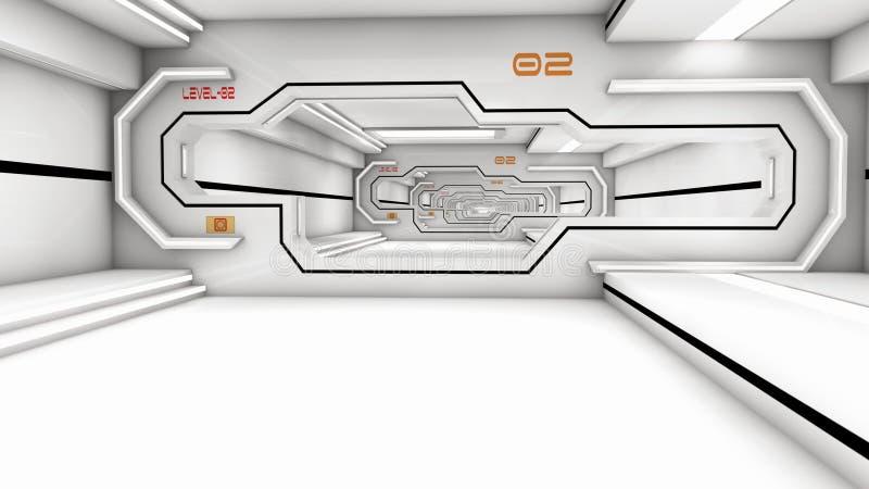 Futuristisk korridorSCIFI stock illustrationer