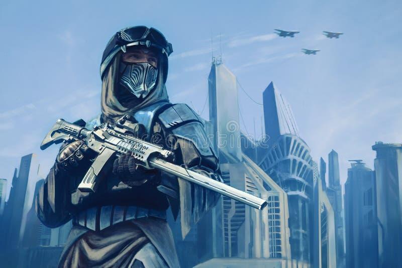 Futuristisk krigare med vapen stock illustrationer