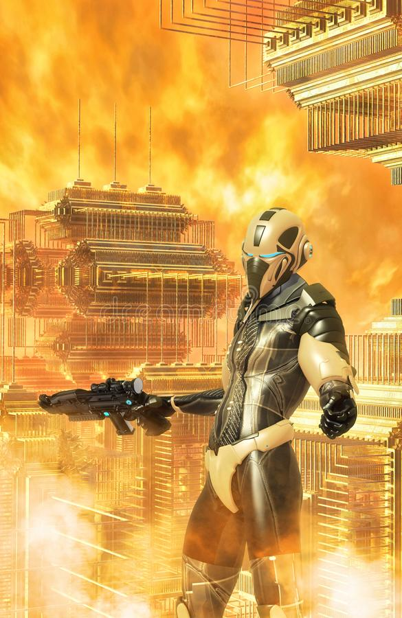 Futuristisk krigare- och främlingstad royaltyfri illustrationer