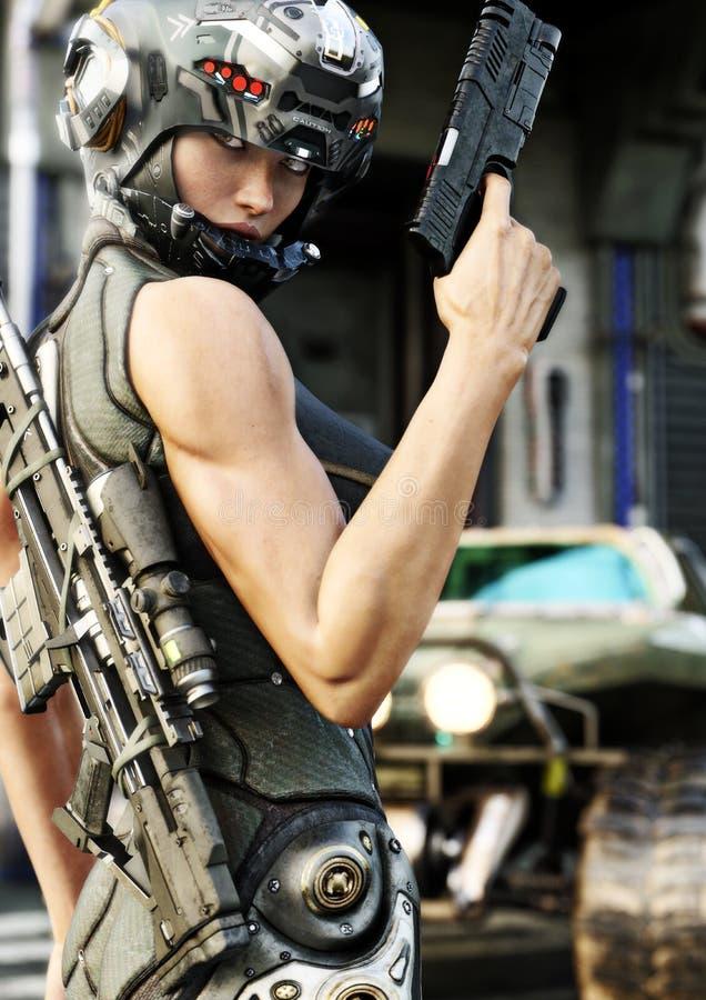 Futuristisk kvinnlig för special operation som poserar, innan att gå ut på en beskickning stock illustrationer