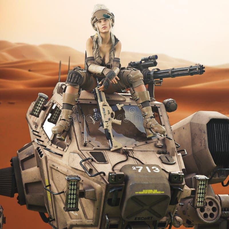 Futuristisk kvinnlig soldat som överst sitter av hennes lotsade Mech robotmaskin vektor illustrationer