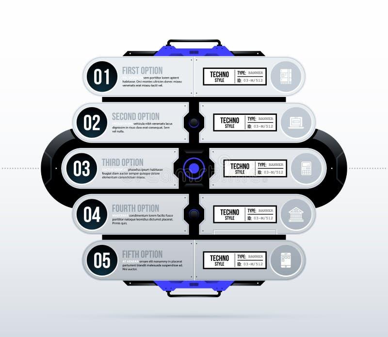 Futuristisk mall med fem alternativ i ren high tech/technostil royaltyfri illustrationer