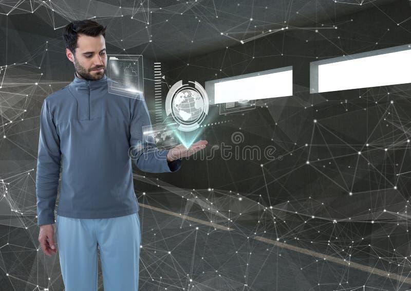 Futuristisk man i en futuristisk rummanöverenhet världen arkivbilder