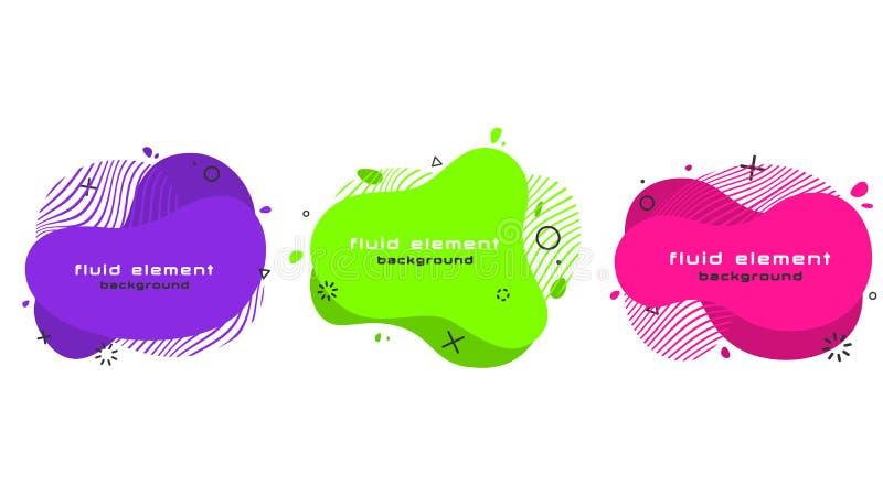 Futuristisk moderiktig abstrakt banerupps?ttning Plana geometriska vätskebeståndsdelar vektor illustrationer