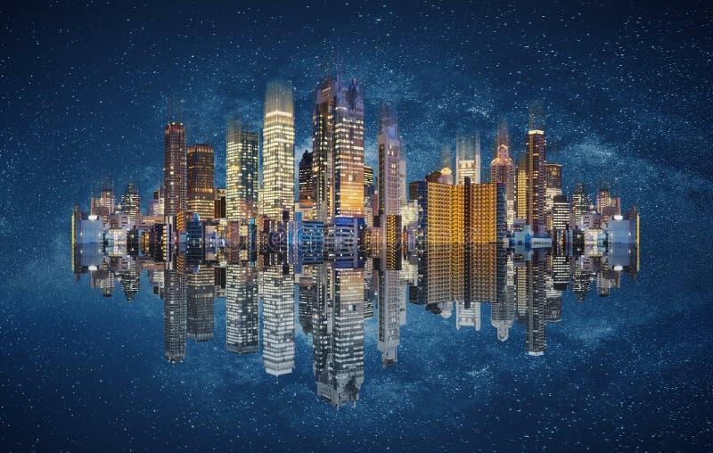 Futuristisk modern byggnadsteknologi Abstrakt cityscape med reflexion och stjärnklar himmel royaltyfri bild