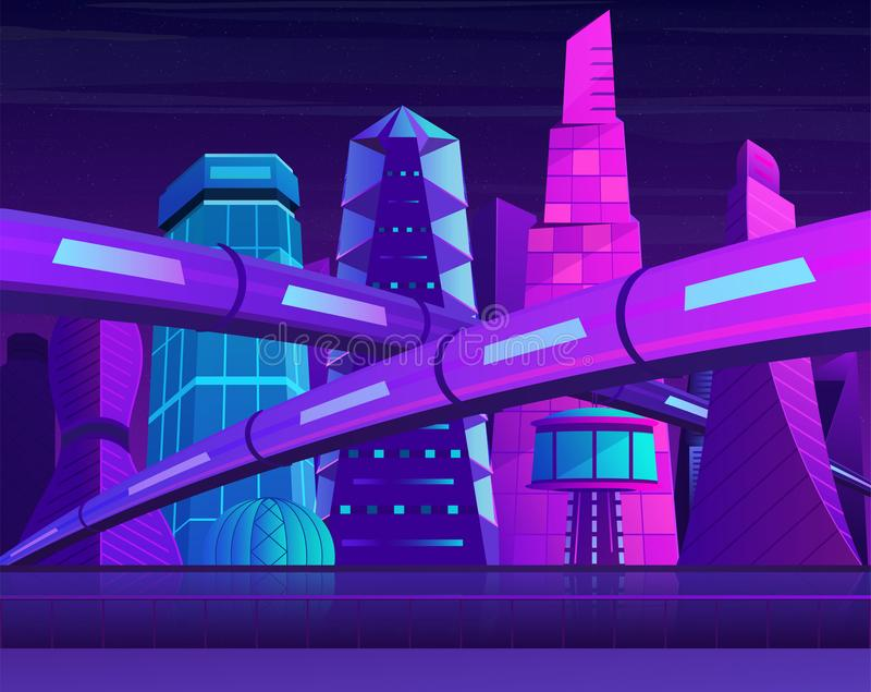 Futuristisk neonnattstad med skyskrapor och järnväg Metropolis i blåa violetta färger royaltyfri illustrationer