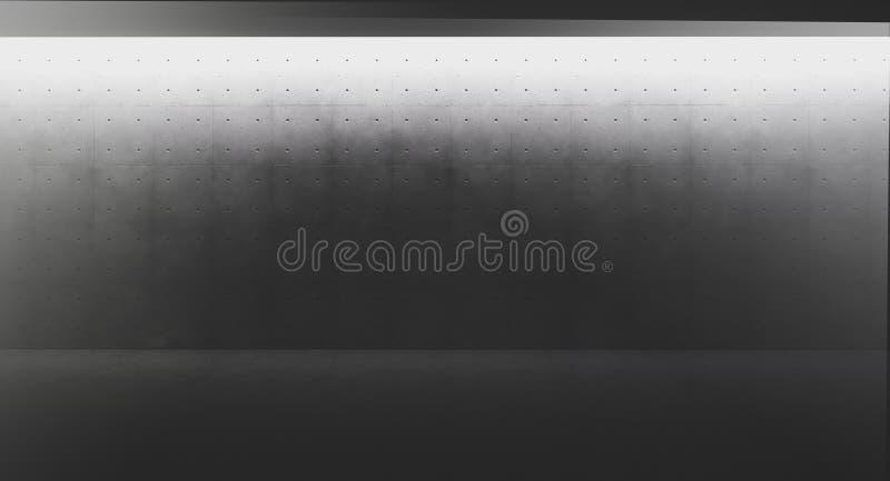 Futuristisk och modern mörk inre med det tomma väggar och concretgolvet Begrepp av inredesignen och arkitektur 3d vektor illustrationer