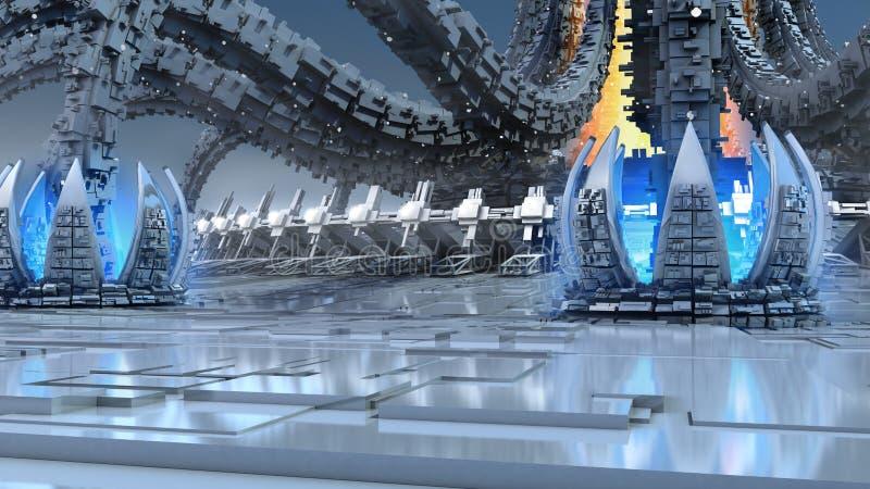 futuristisk organisk arkitektur 3D royaltyfri illustrationer