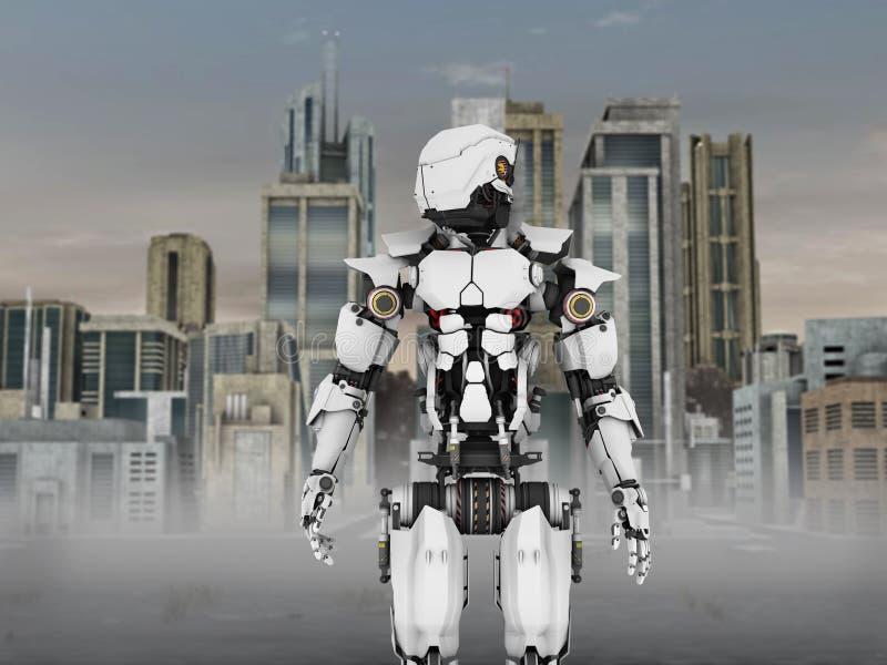 Futuristisk robot med stadsbakgrund. stock illustrationer