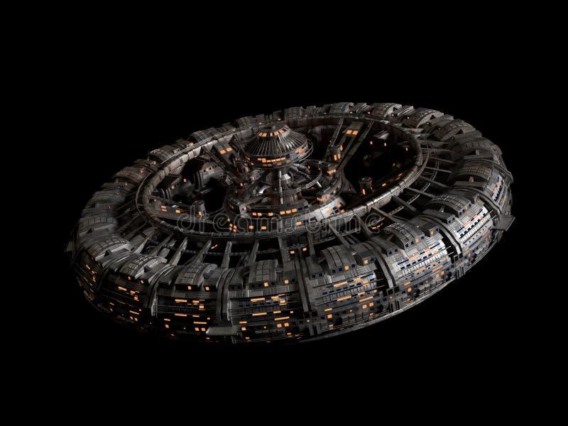 Futuristisk rymdstation som isoleras på svart bakgrund, hög tolkning för science för detaljrymdskeppdiskett 3d royaltyfri illustrationer