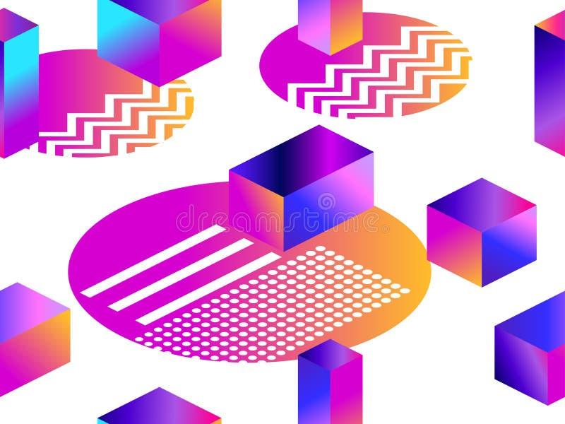 Futuristisk sömlös modell med geometriska former Lutning med purpurfärgade signaler isometrisk form 3d Synthwave retro bakgrund vektor illustrationer
