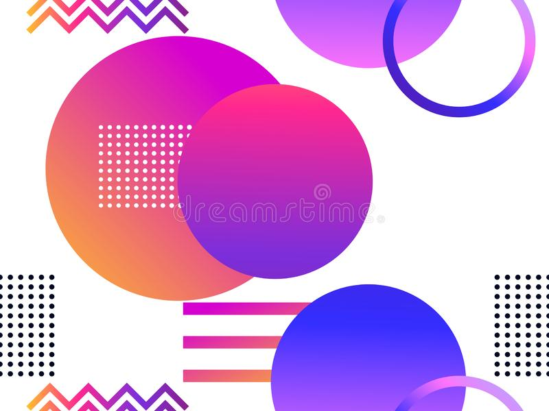 Futuristisk sömlös modell med geometriska former Lutning med purpurfärgade signaler Synthwave retro bakgrund Retrowave vektor royaltyfri illustrationer