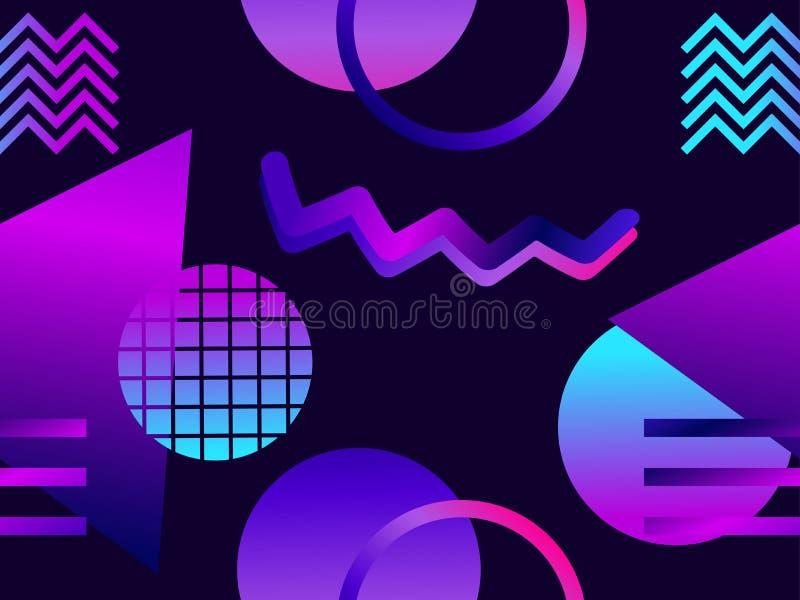 Futuristisk sömlös modell med geometriska former Lutning med purpurfärgade signaler Synthwave retro bakgrund Retrowave vektor vektor illustrationer