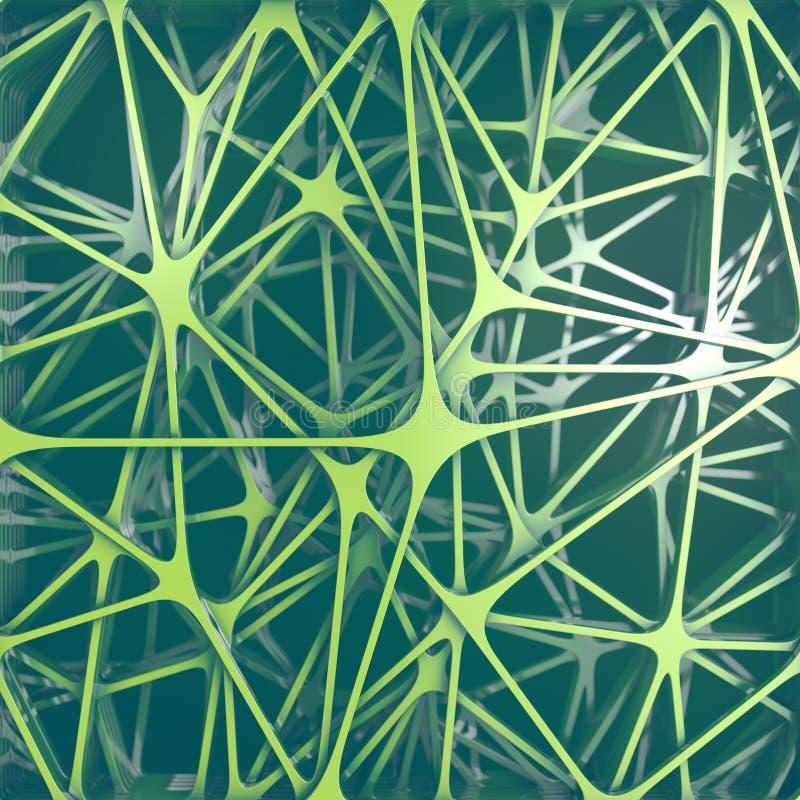 Futuristisk sammansättning av gröna kulöra rundade former abstrakt frambragd datordesign 3d som f?ster den l?tta redigerande mapp royaltyfri illustrationer