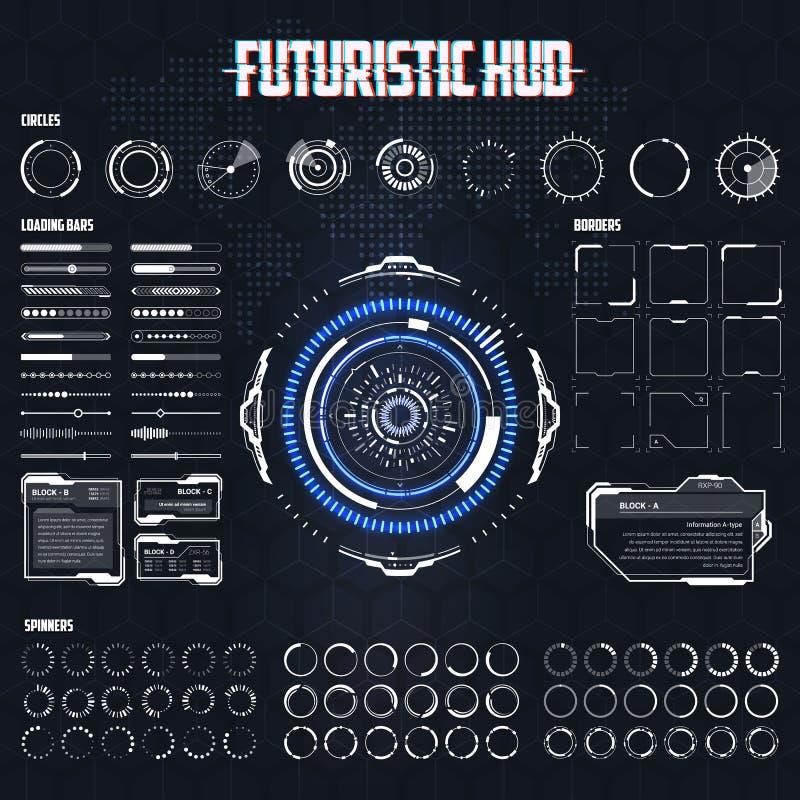 Futuristisk science fiction HUD Elements Set royaltyfri bild