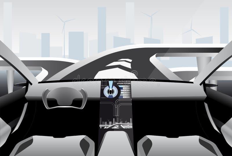 Futuristisk själv som kör bilen på en tekniskt avancerad väg stock illustrationer