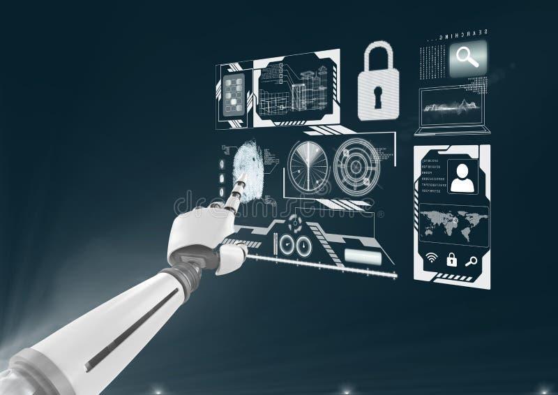 futuristisk skärm på mörker - blå bakgrund med roboten som gör saker royaltyfri illustrationer