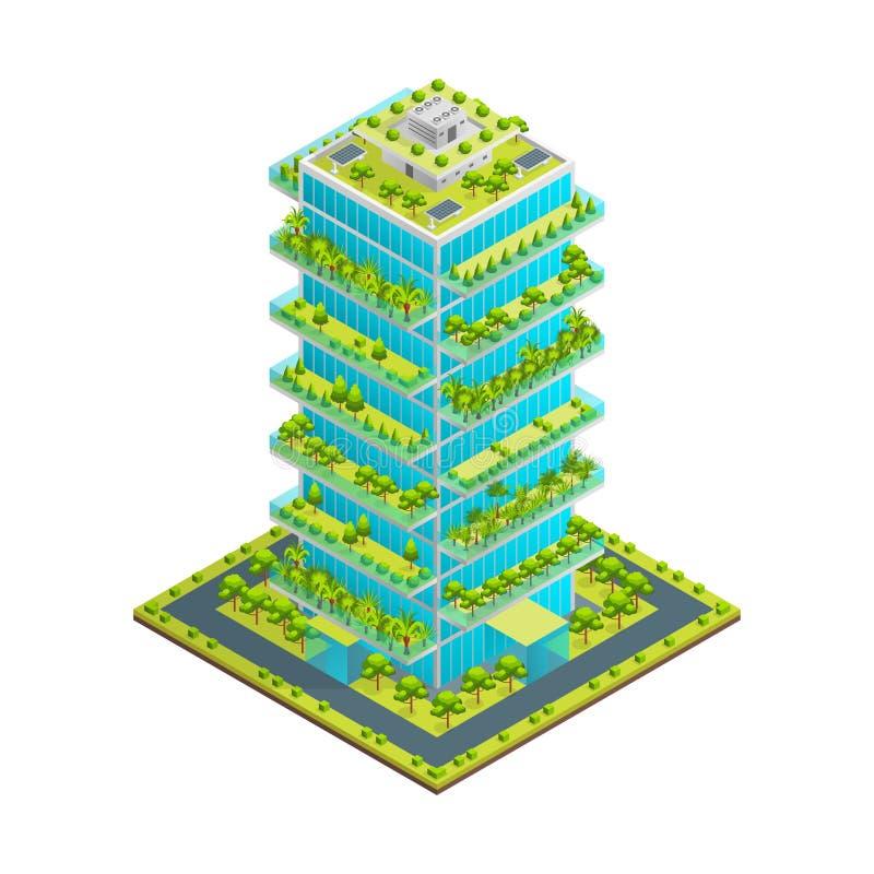 Futuristisk skyskrapa med grön isometrisk sikt för takbegrepp 3d vektor stock illustrationer