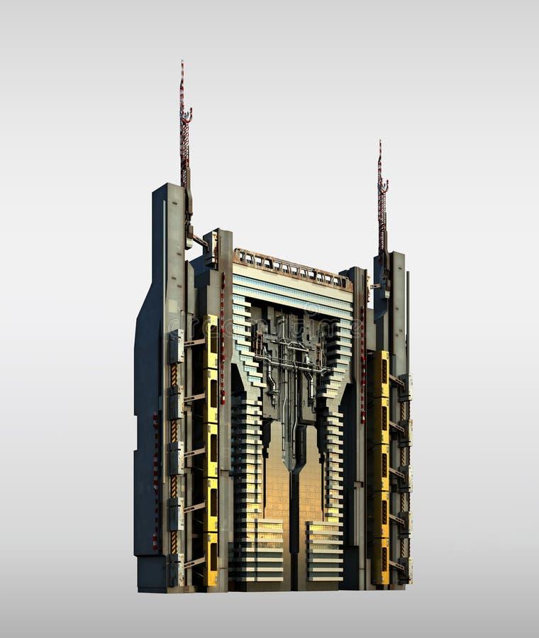 Futuristisk skyskrapaarkitektur royaltyfri illustrationer