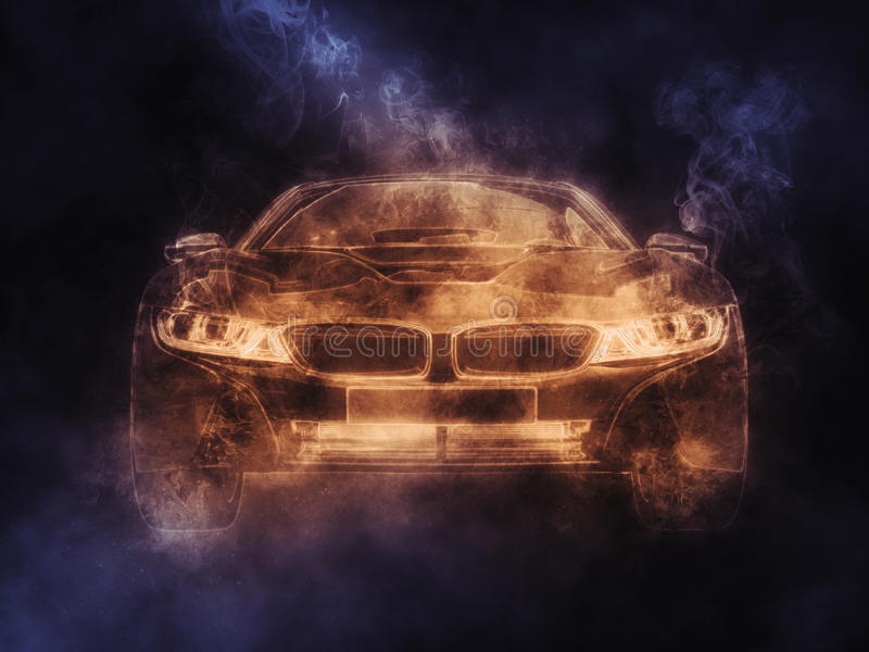 Futuristisk sportbil - orange rök royaltyfri illustrationer