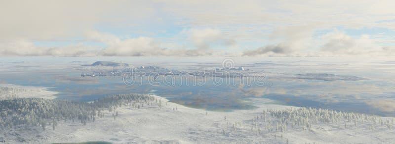 Futuristisk stad i frosten royaltyfri illustrationer