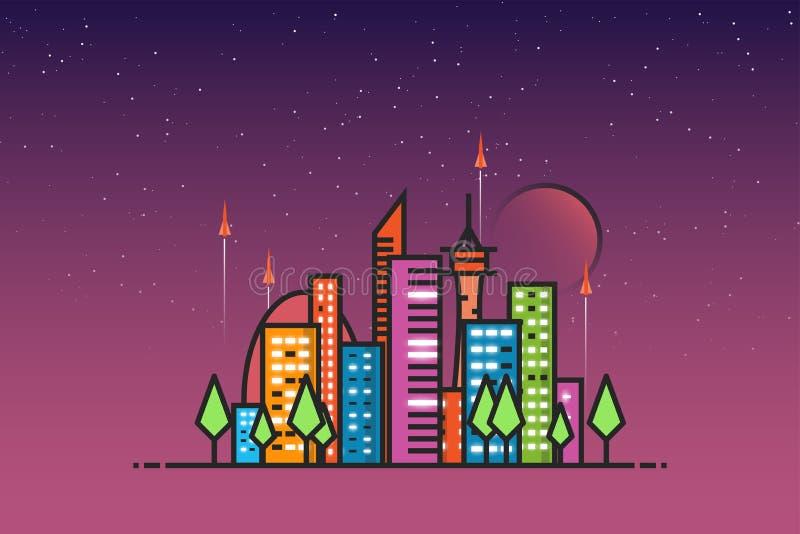 Futuristisk stad och raket stock illustrationer