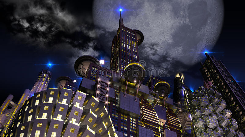 Futuristisk stad på natten med hägringjättemånen vektor illustrationer