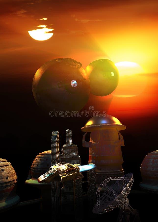 Futuristisk stad p? planeten med tv? solar stock illustrationer
