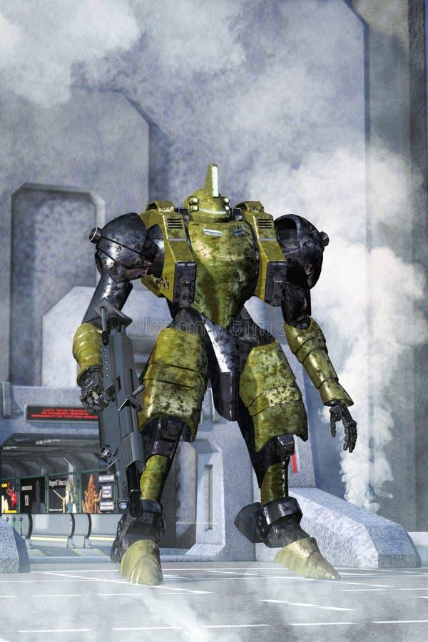 Futuristisk stridrobot royaltyfri illustrationer