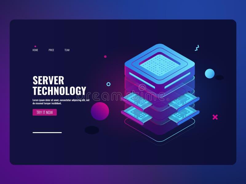 Futuristisk symbol som direktanslutet packar ihop, serverrum, begrepp, stora data - bearbeta och skyddsprocess, datacenter och stock illustrationer
