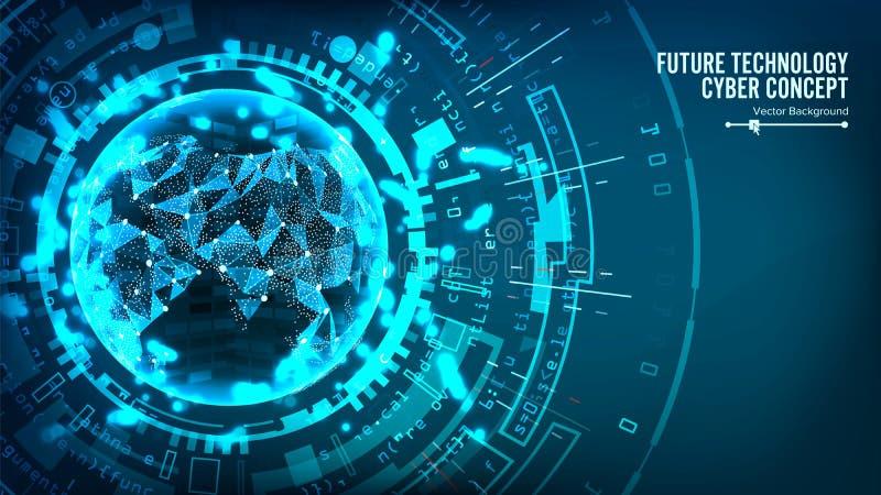 Futuristisk teknologianslutningsstruktur abstrakt bakgrundsvektor Framtida Cyberbegrepp Design för Digitalt system royaltyfri illustrationer