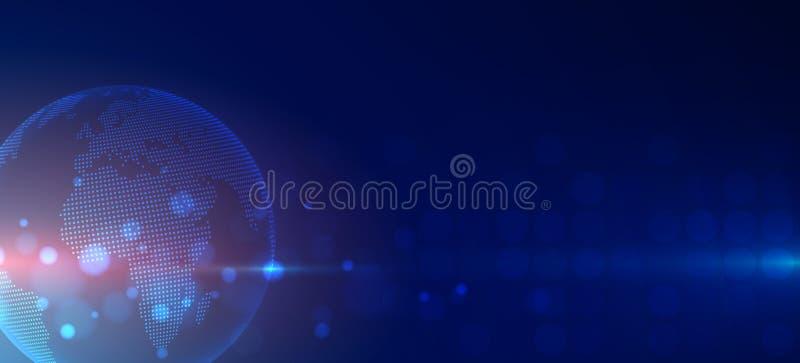 Futuristisk teknologibakgrundsaffär och utvecklingsriktning Digital värld royaltyfri illustrationer