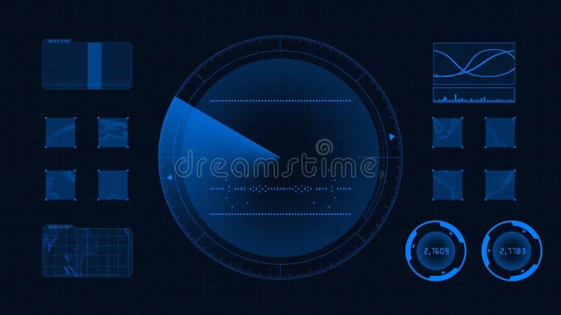 Futuristisk teknologisk manöverenhet Blå bakgrundsGUI vektor illustrationer
