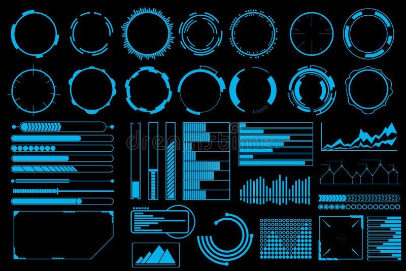Futuristisk uppsättning för användargränssnittbeståndsdelvektor royaltyfri illustrationer