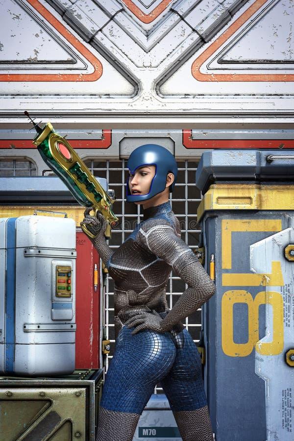 Futuristisk utrymmeflicka med vapnet stock illustrationer