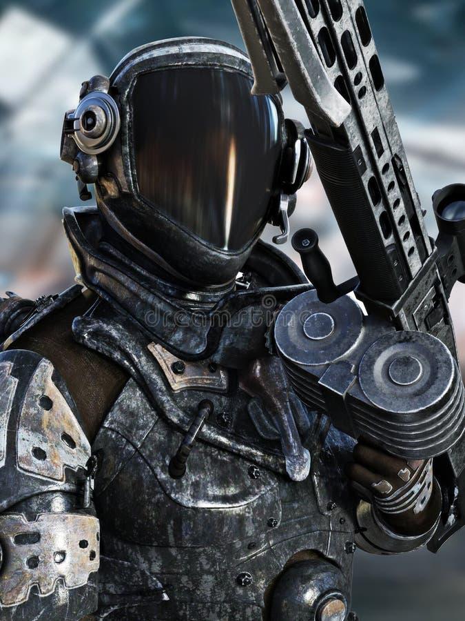 Futuristisk utrymmeflotta som poserar i en spacesuit med vapnet vektor illustrationer