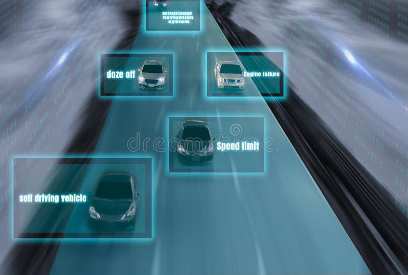 Futuristisk väg av snille för den intelligenta själven som kör bilar, Arti royaltyfri illustrationer
